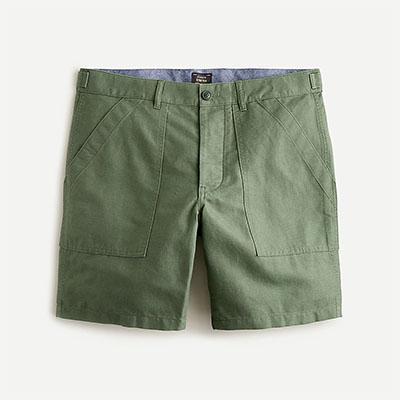 green cotton linen shorts for men