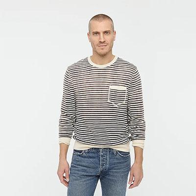 striped french terry sweatshirt