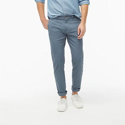 blue slim fit khaki pants for men