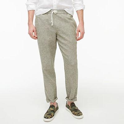 light colored linen cotton drawstring pants