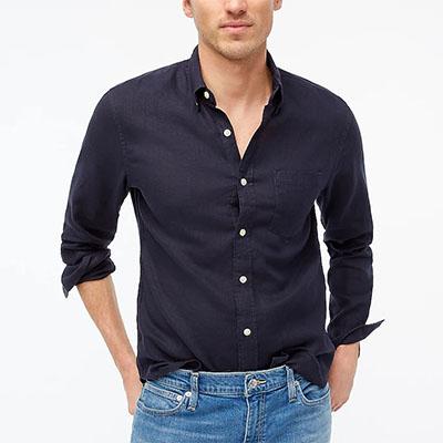 long sleeve dark blue linen cotton shirt for men