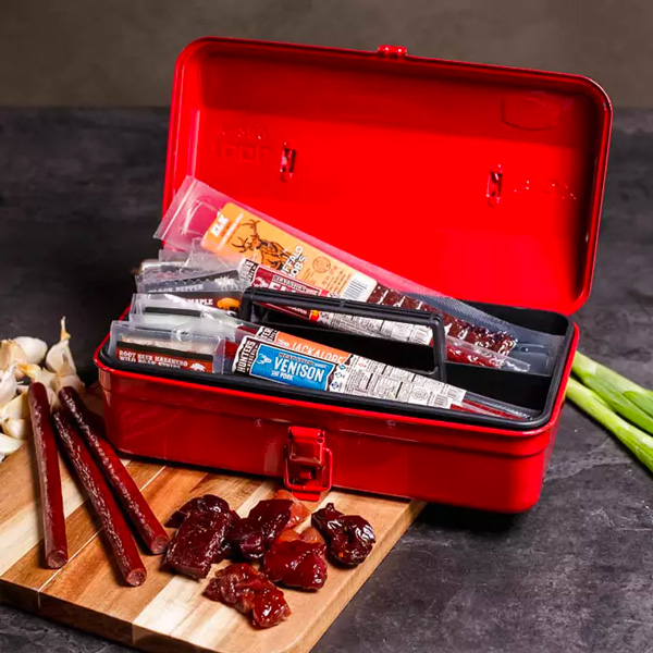 beef jerky in a toolbox