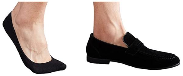 no show black slip on loafer socks