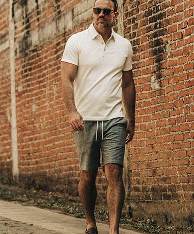 taylor stitch brand olive pin dot shorts