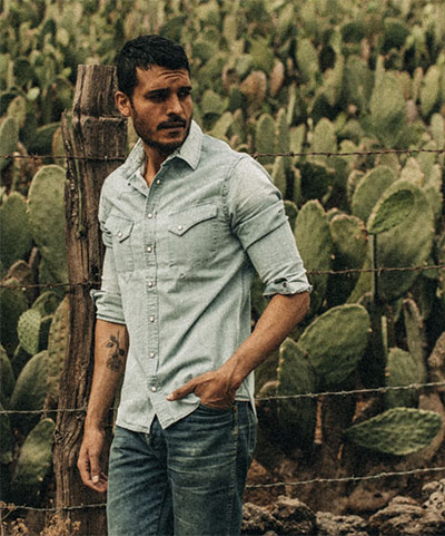washed denim shirt for men from taylor stitch
