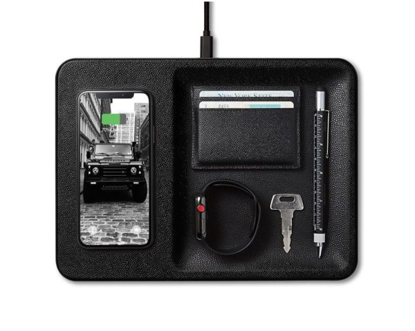 black leather wireless phone charging tray