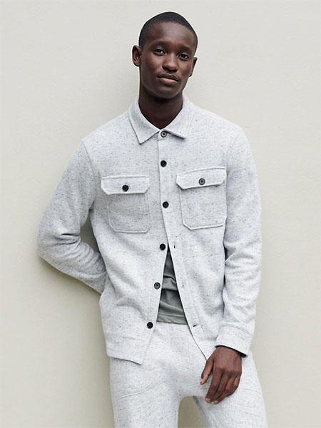 light grey long sleeve waffle knit shirt jacket
