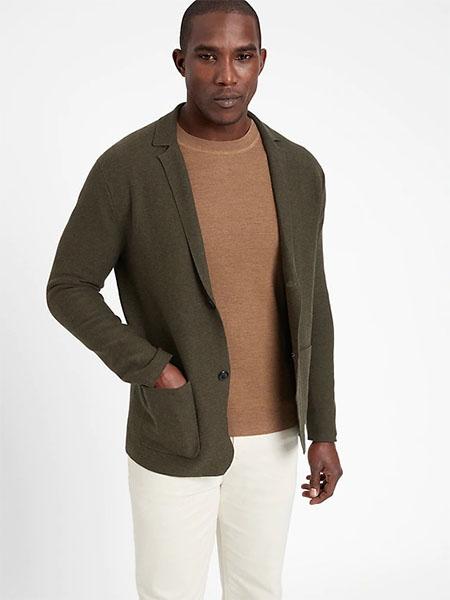 dark green sweater blazer