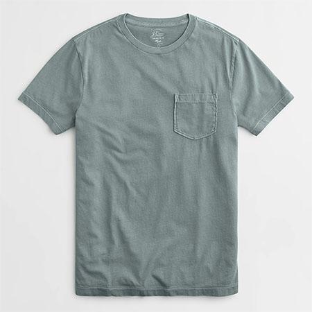 light blue short sleeve pocket crew neck shirt