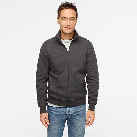 dark grey zip front fleece jacket