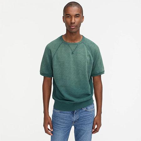 green terry short sleeve sweatshirt