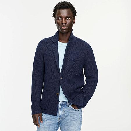 dark blue cotton sweater blazer
