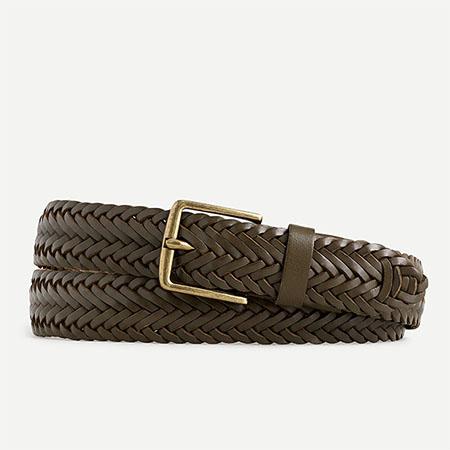 dark brown braided leather belt