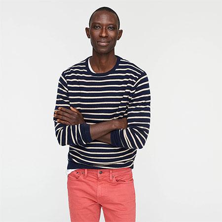 blue and white stripe cashmere crewneck sweater