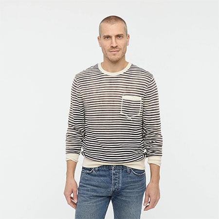 stripe french terry sweatshirt