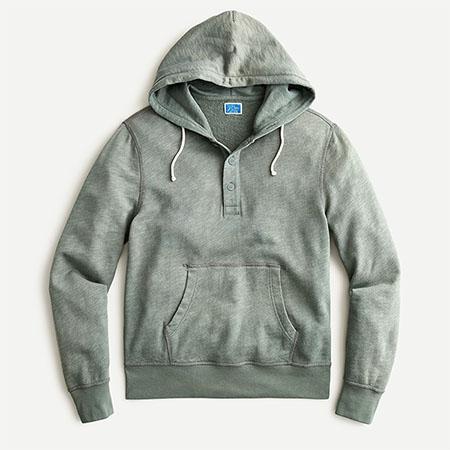 green french terry henley hoodie sweatshirt