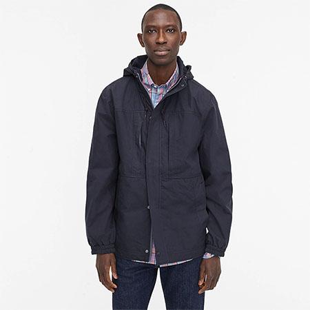 dark blue anorak coat