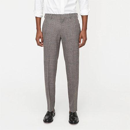 blue brown glen check slim fit italian wool suit pants