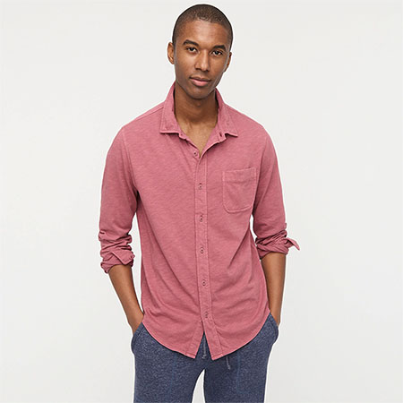 faded red long sleeve button up shirt