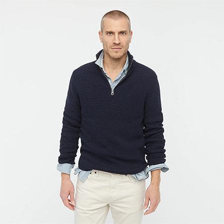 dark blue half zip sweater
