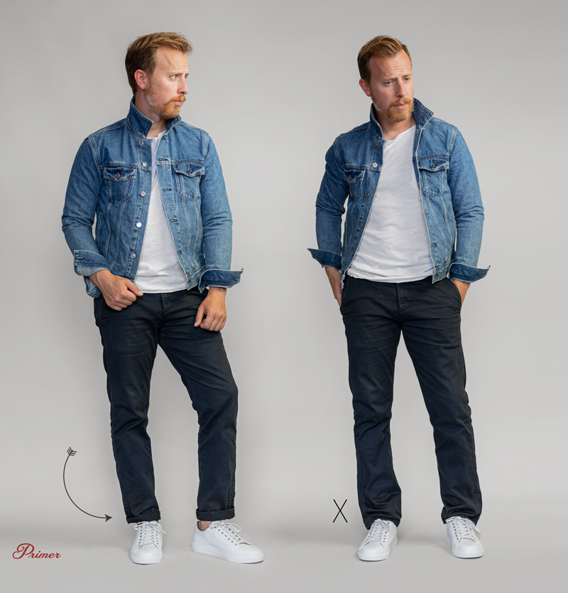 A man in a smart casual outfit showing the difference of cuffed pants vs baggy