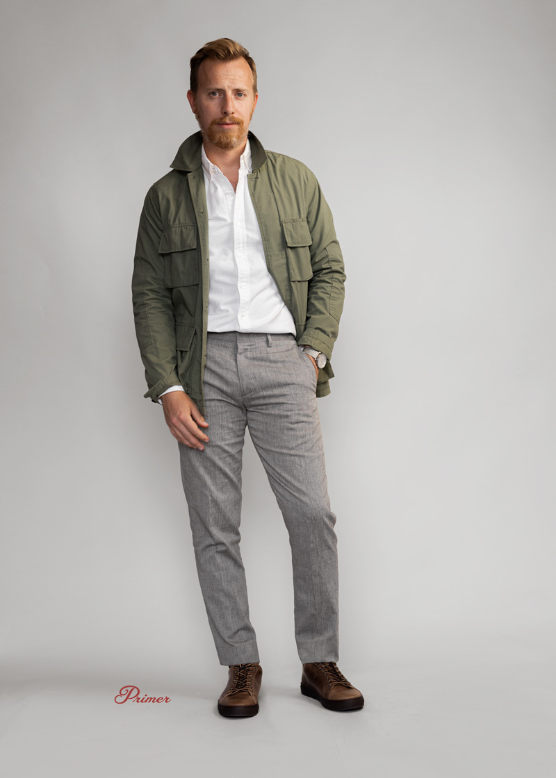 og 107 reproduction jacket worn with smart casual outfit