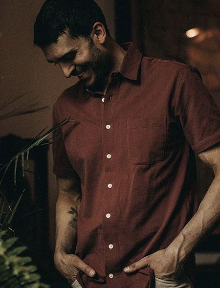 rust colored short sleeve button up shirt