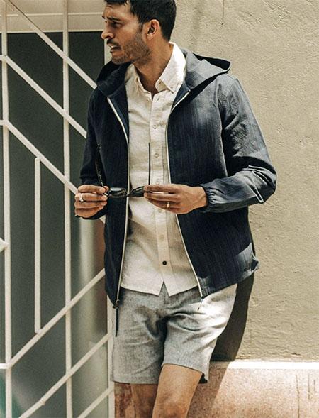 dark blue zip front jacket