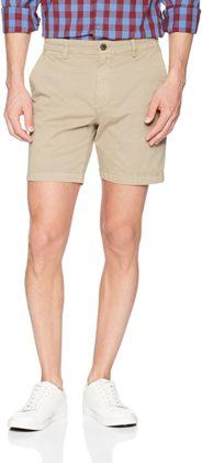 khaki stretch chino style shorts for men