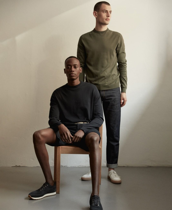 two men wearing Asket clothing brand