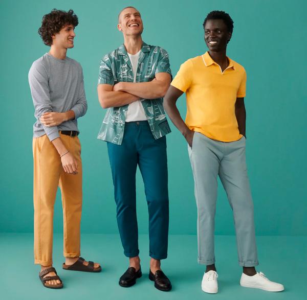 three men wearing bonobos brand clothing