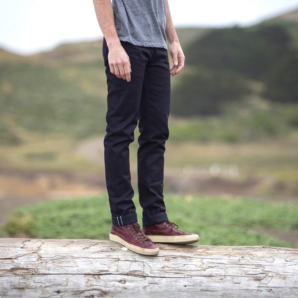 man wearing Gustin clothing brand jeans