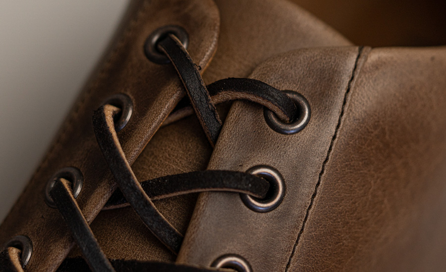 close up of horween chormexcel leather sneaker