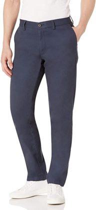 dark blue flat front slim fit chino pants