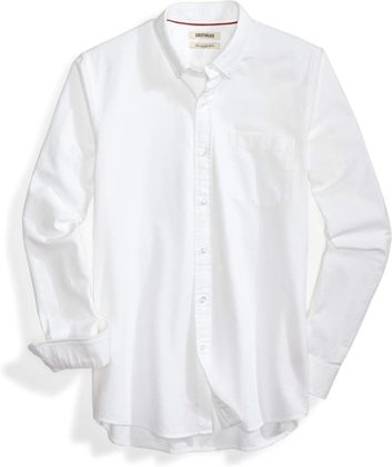solid white button down long sleeve oxford shirt