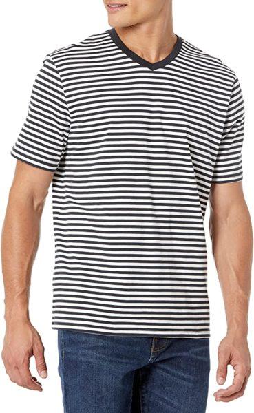 striped v neck short sleeve shirt