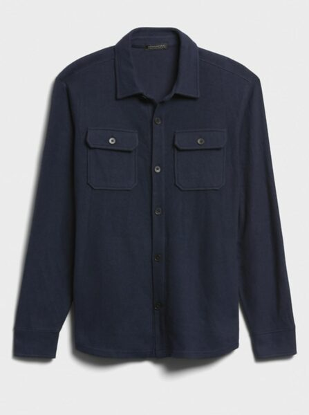 navy blue button down brushed shirt jacket
