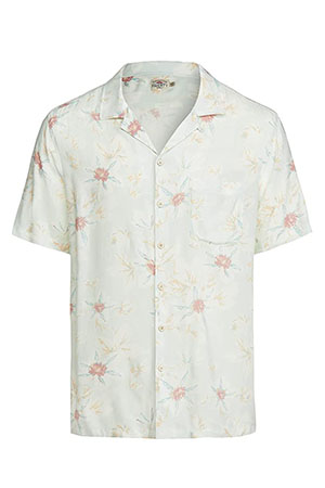 camp collar shirt with subtle floral pattern