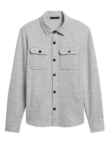 grey button down brushed waffle knit shirt jacket