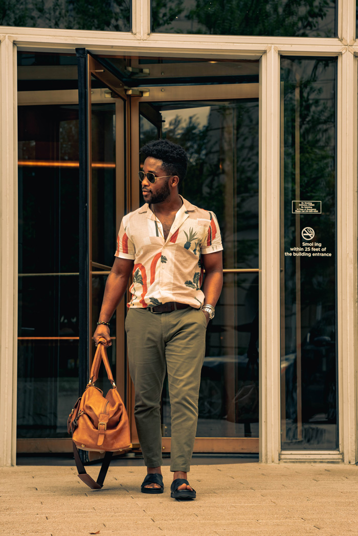 camp shirt outfit with chinos and sandals