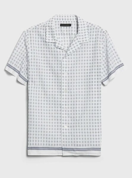 short sleeve button up shirt with blue and white pattern print