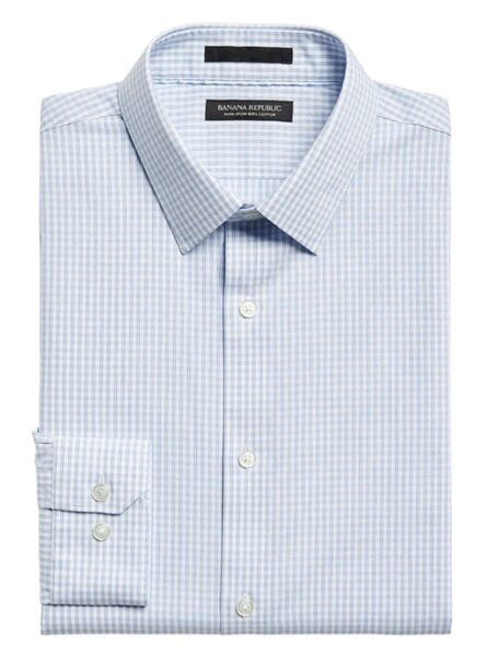 blue white slim fit button down dress shirt