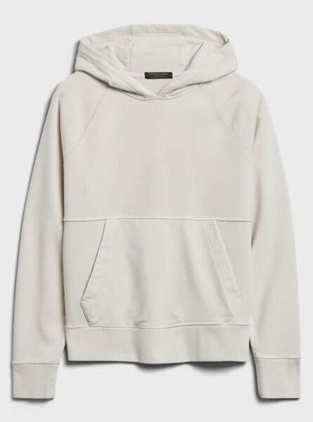 white french terry hoode sweater