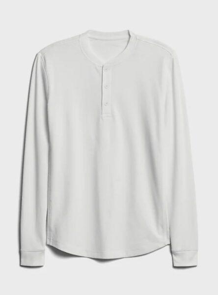white long sleeve henley shirt