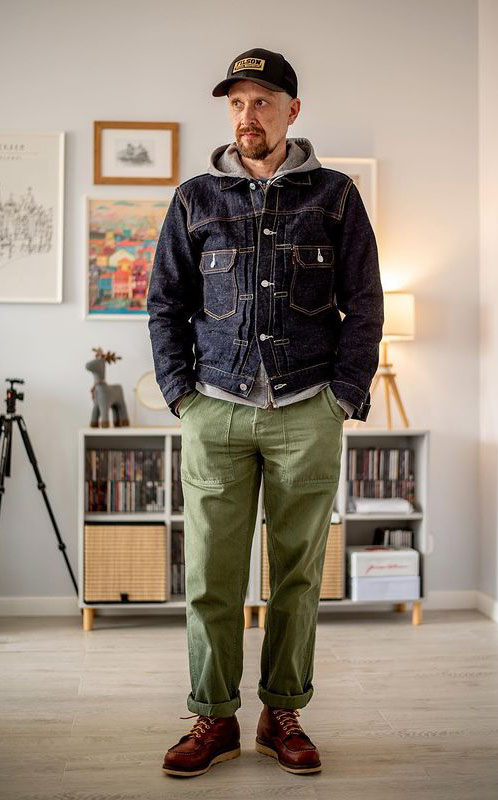 og107 pants with denim jacket and red wing boots
