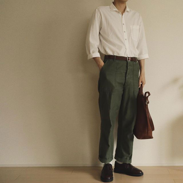 OG107 pants dressed up with a tucked in shirt