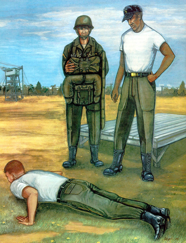 painting of military soldiers in og107 pants