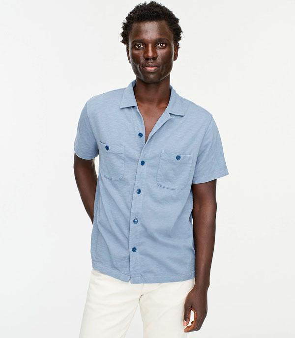 man wearing camp collar summer shirt