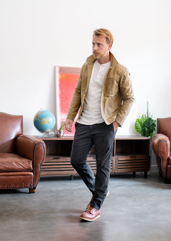 grey chino pants outfit with henley and trucker jacket