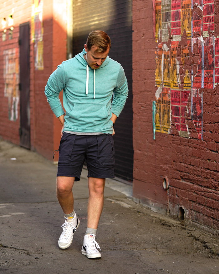 Nike Blazer Mid with shorts and hoodie outfit